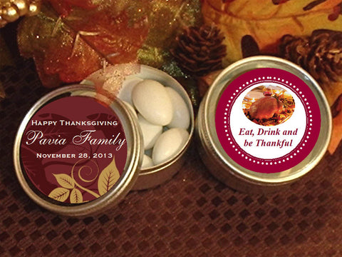 Thanksgiving Party Round Metal Candy Favor Tins