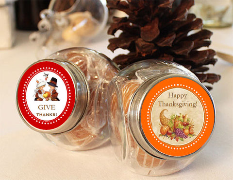 Thanksgiving Party Vintage Mini Glass Jars Favors