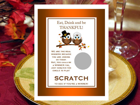 Thanksgiving Party Scratch Off Cards Games Tickets