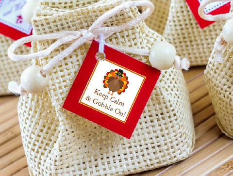 Thanksgiving Party Square Favor Gift Tags