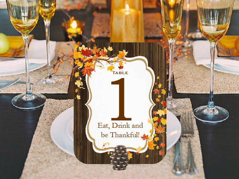 Thanksgiving Party Table Numbers Cards