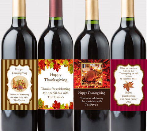 Thanksgiving Party Wine Bottle Labels Stickers