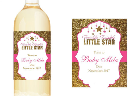 Twinkle Twinkle Little Star Baby Shower Wine Bottle Labels Stickers