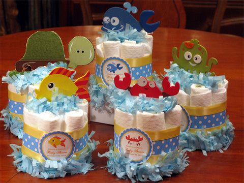 Baby Shower Ocean Fish Sea baby diaper cake centerpieces