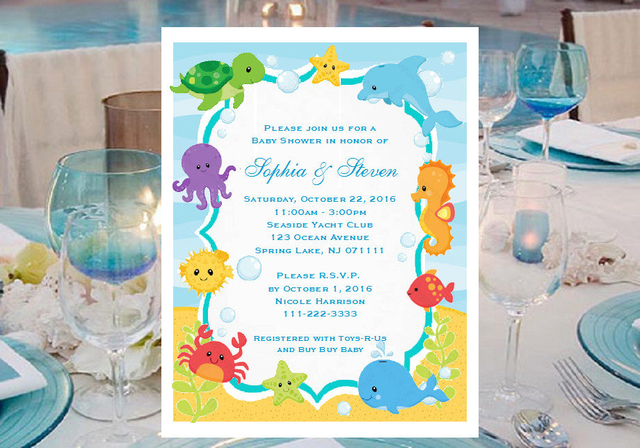 Under the sea ocean baby shower invitations announcements pavia under the sea ocean baby shower invitations announcements filmwisefo