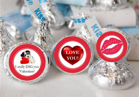 Valentine's Day Chocolate Candy Kisses Labels Stickers