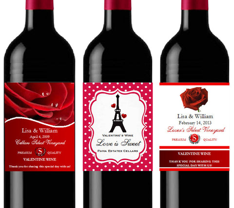 Valentine's Day Wine Bottle Party Labels Stickers
