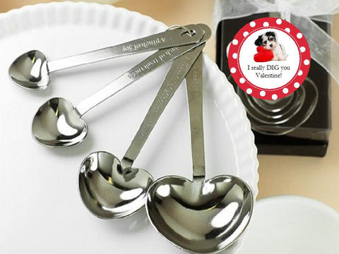 Valentine's Day Metal Heart Shaped Measuring Spoons Favors