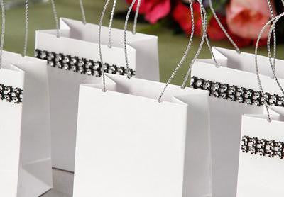 White Wedding Bridal Shower Mini Gloss Totes with Silver Handles - pack of 12