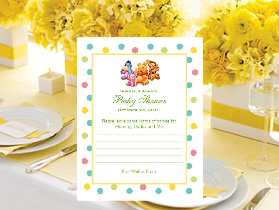 Winnie the Baby Pooh and Friends Baby Shower Advice Wish Cards ...