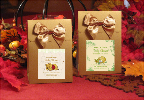 Winnie the Baby Pooh and Friends Baby Shower Gold Candy Shoppe Favor Boxes