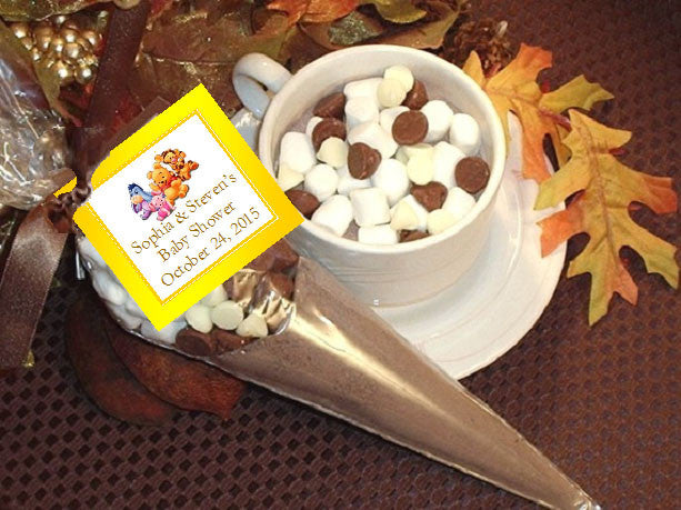Baby Shower Favors Hot Chocolate winnie the baby pooh and friends hot cocoa cones favors – pavia