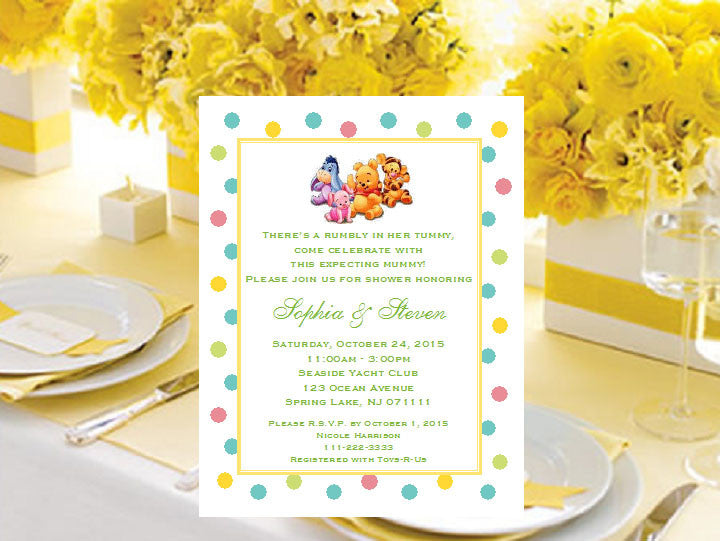 winnie the baby pooh and friends baby shower invitations – pavia, Baby shower invitations