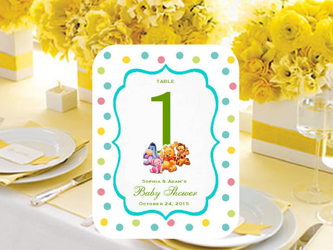 Winnie the Baby Pooh and Friends Table Numbers Cards