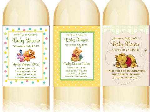Winnie the Baby Pooh and Friends Large Wine Bottle Labels Stickers