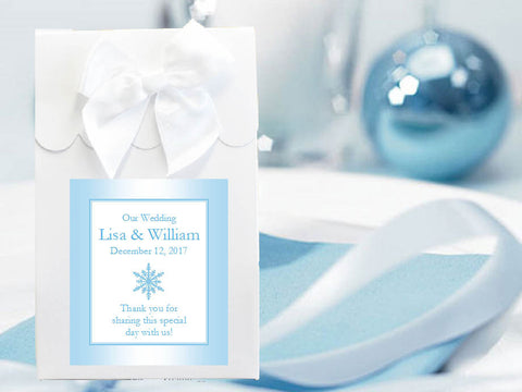 Winter Wedding Snowflake Candy Shoppe Boxes Bags Totes