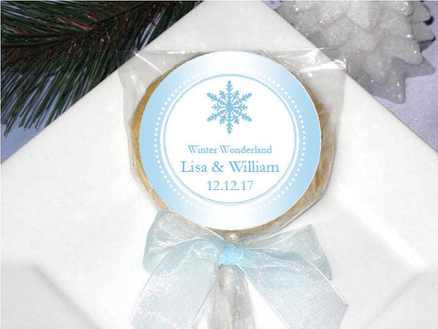Winter Wedding Snowflake Cookie Pop Favors