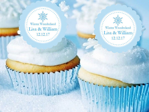 Winter Wedding Snowflake Cupcake Toppers Decorations