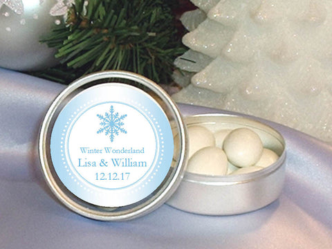 Winter Wedding Snowflake Round Metal Candy Tin Favors
