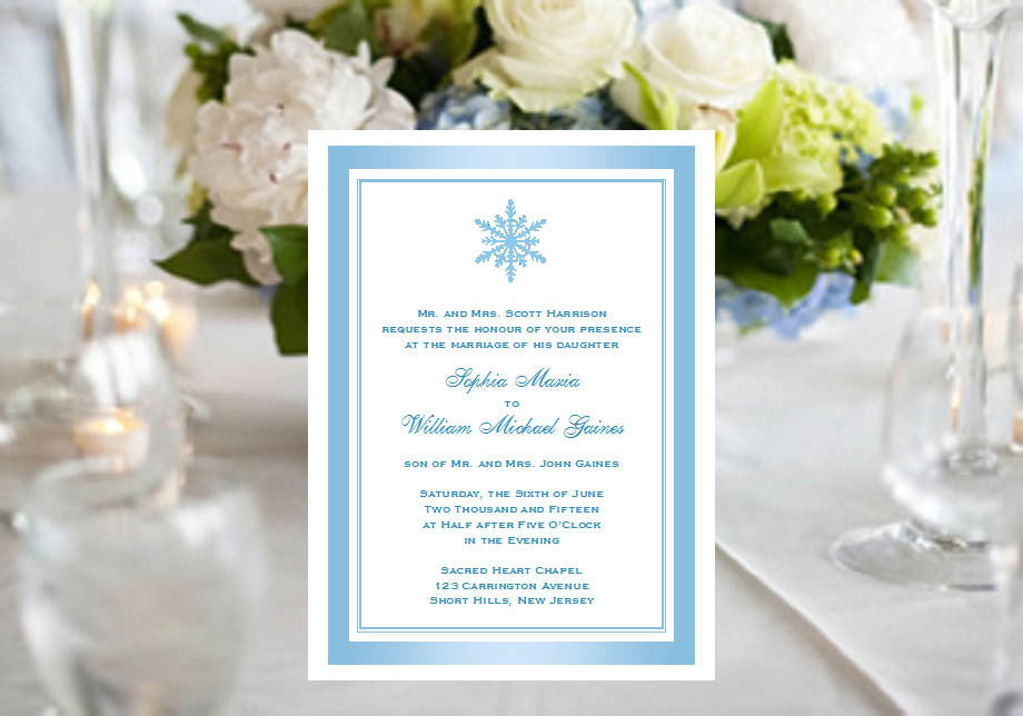 Winter Wedding Snowflake Party Invitations Announcements – Pavia ...