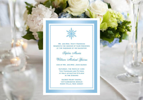 Winter Wedding Snowflake Party Invitations Announcements