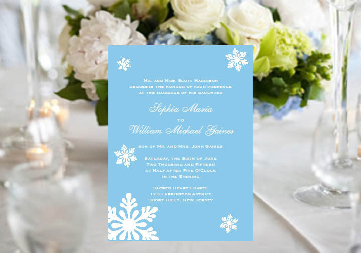 winter wedding snowflake party invitations announcements pavia