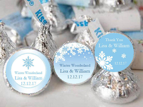 Winter Wedding Snowflake Hershey's Kisses Labels Stickers