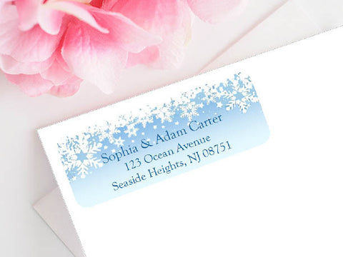 Winter Wedding Snowflake Address Mailing Labels Stickers