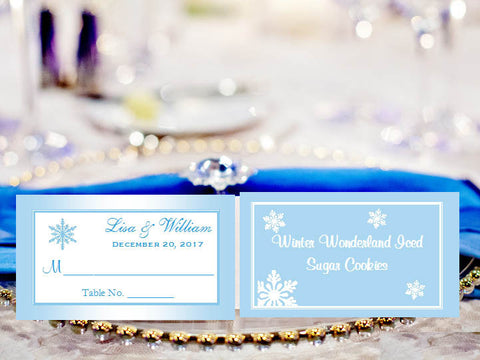 Winter Wedding Snowflake Escort Buffet Place Cards