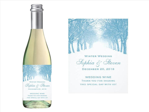 Winter Snowflake Wonderland Wedding Party Wine Bottle Labels Stickers