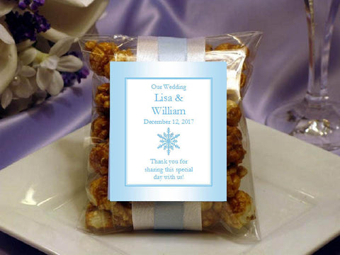 Winter Wedding Snowflake Caramel Corn Favors