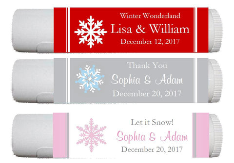 Winter Wedding - Let It Snow Party - Lip Balm Labels