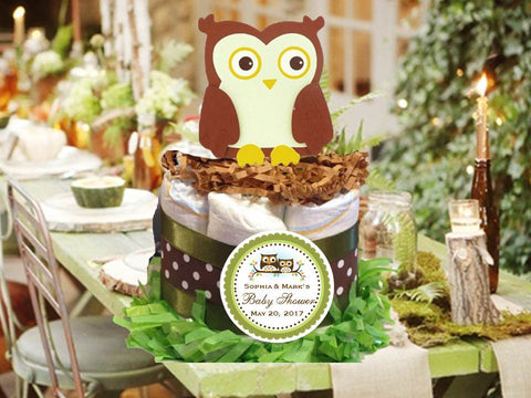 Woodland Creatures Forest Wise Owl Diaper Cake Centerpiece