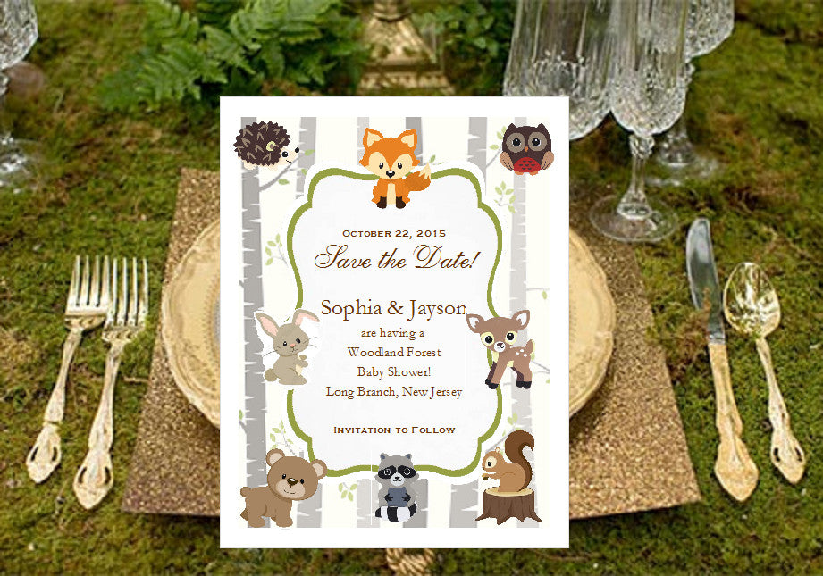 Woodland Forest Animals Baby Shower Save The Date Cards