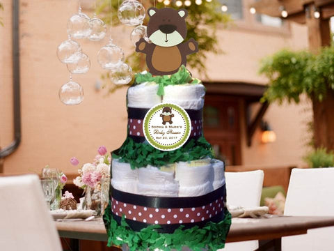 Bear Forest Animals Woodland Baby Shower Two Tiered Diaper Cake Centerpieces