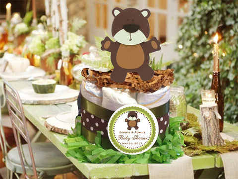 Woodland Creatures Forest Bear Diaper Cake Centerpiece