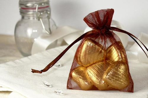 Set of 10 CHOCOLATE BROWN Organza Fabric Favor Bags
