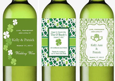 Claddagh Irish Wedding Party Wine Bottle Labels Stickers
