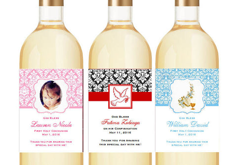 Communion Confirmation Red Dove Wine Bottle Labels Stickers - Damask Large