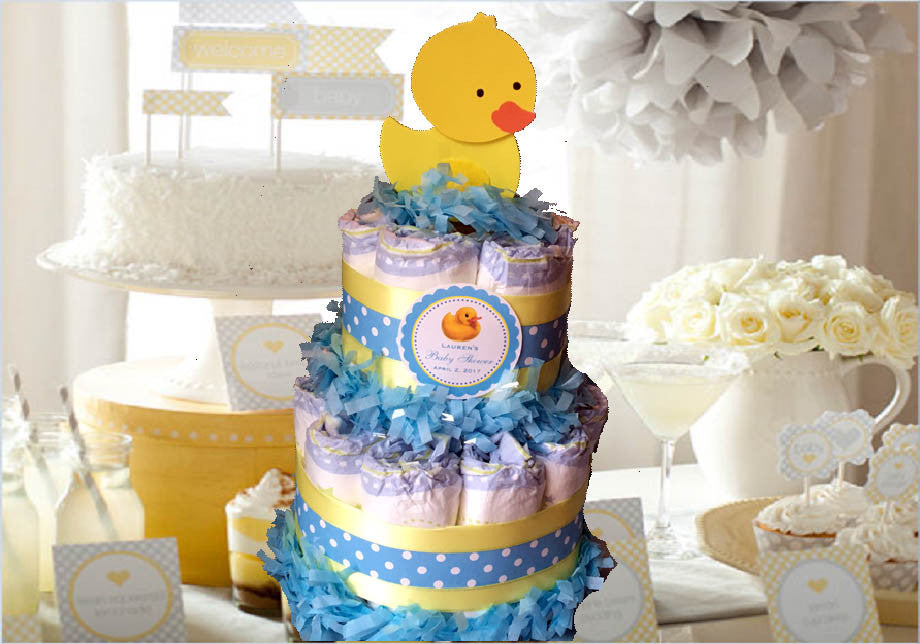 Duck Baby Shower Rubber Ducky Diaper Cake Centerpieces TWO TIERED