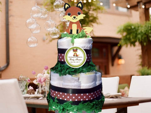 Fox Forest Animals Woodland Baby Shower Two Tiered Diaper Cake Centerpiece