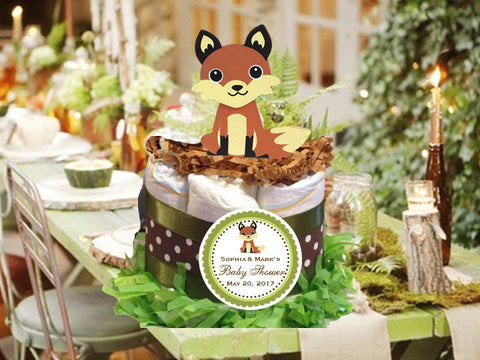 Woodland Creatures Forest Fox Diaper Cake Centerpiece