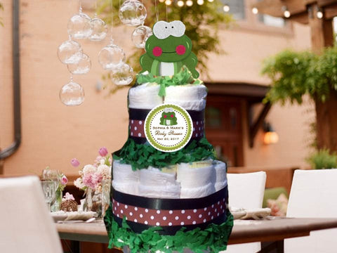 Frog Forest Animals Woodland Baby Shower Two Tiered Diaper Cake Centerpieces