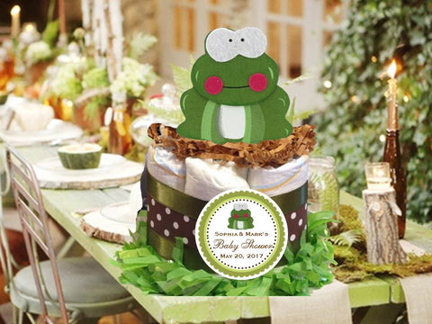 Woodland Creatures Forest Frog Diaper Cake Centerpiece