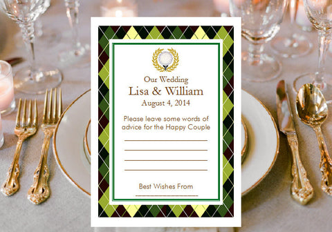 Golf Wedding Party Advice or Wish Cards Notes