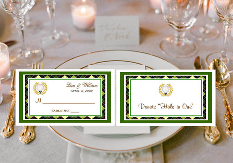 Golf Sports Wedding Party Buffet Escort Place Cards