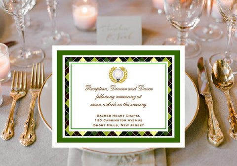 Golf Wedding Party Reception Cards Notes