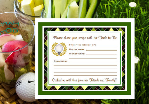 Golf Wedding Party Recipe Cards Notes