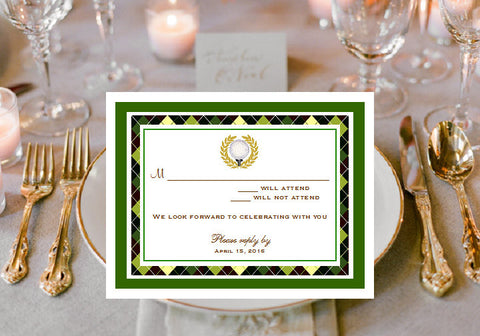 Golf Wedding Party Response Cards Notes