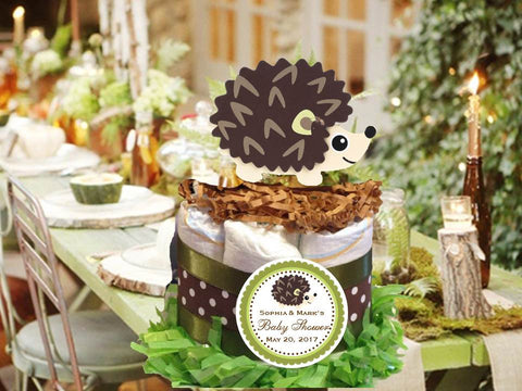 Woodland Creatures Forest Hedgehog Diaper Cake Centerpiece